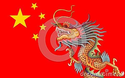 dragon sur le fond de drapeau de la chine