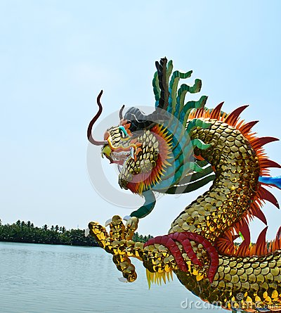Dragon in temple near river