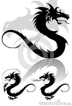 Dragon tribal tattoo figure set in cute colors