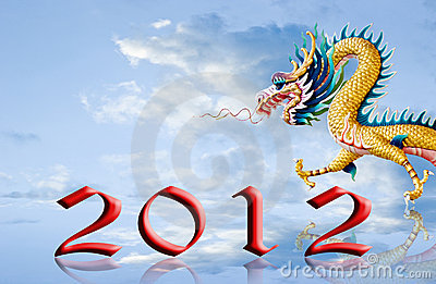 Dragon walking with 2012 year number on the sky