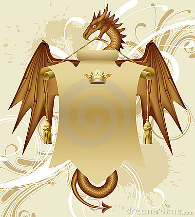 Free Dragon With A Banner Royalty Free Stock Images - 5744349