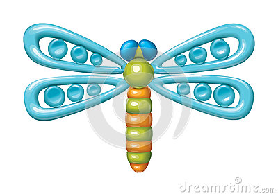 Dragonfly illustration plasticine figurines