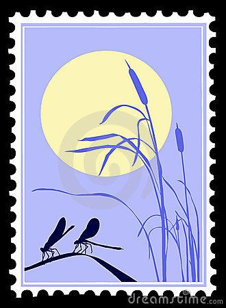 Dragonfly on postage stamps