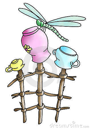 Dragonfly, pots, branches(color)