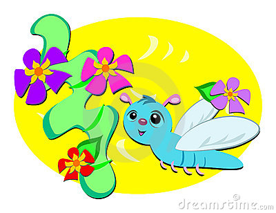 Dragonfly with Retro Flowers