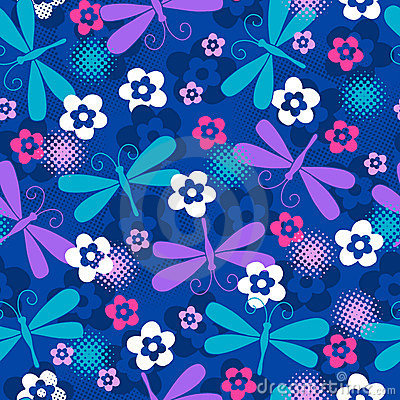 Dragonfly Seamless Repeat Pattern Vector Illus