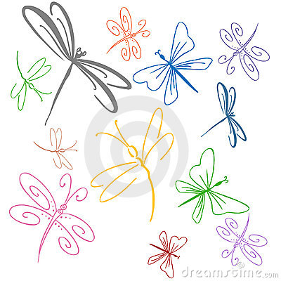 Free Dragonfly Set Stock Images - 16457494