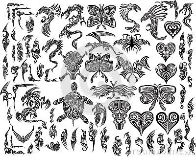 Dragons Butterfly Eagle Tattoo set