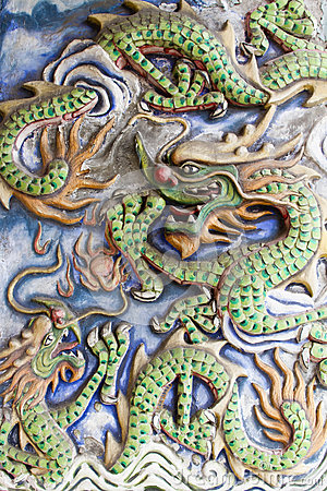 Dragons Motif on Chinese Temple Wall