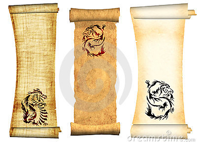Dragons. Scrolls of old parchments