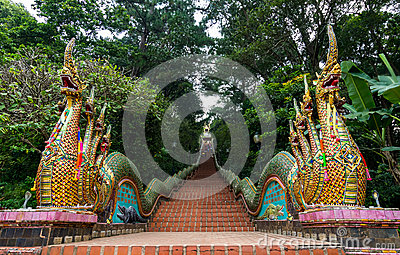 dragon stairs temple thailand