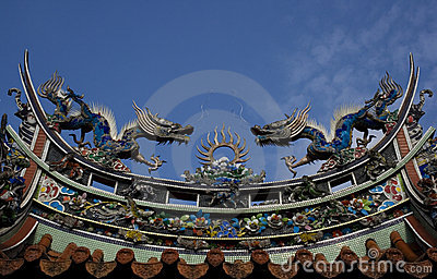 Dragons on temple roof