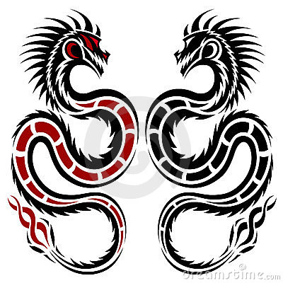 Dragons, tribal tattoo