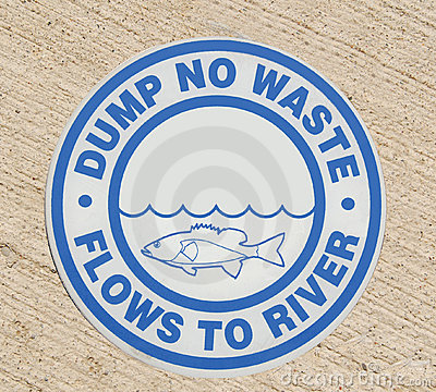 Free Drain Sign - Dump No Waste Flows To River Stock Images - 11388944