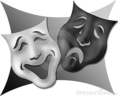 Drama Masks-Black and White