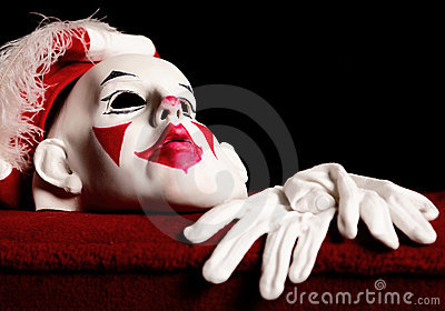 Drama white-red mask of actor and pair gloves