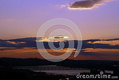 Dramatic boston sunset