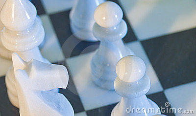 Dramatic closeup of chess board