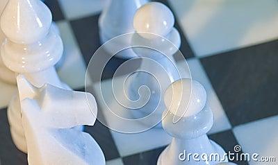 Dramatic closeup of chess board