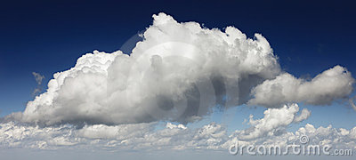 Dramatic clouds and blue sky