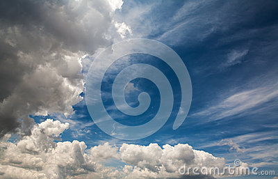 Dramatic clouds with blue sky