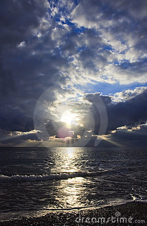 Dramatic cloudscape over sea