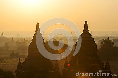 Bagan Temples in Mist at Sunrise