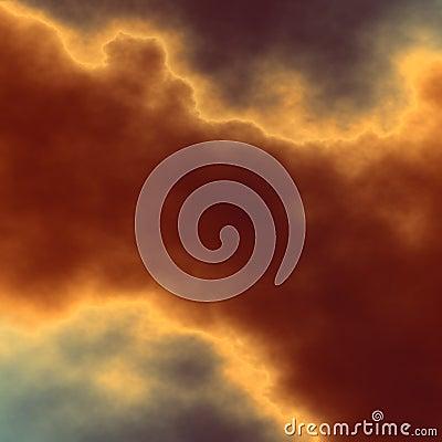 Dramatic dark cloud. Odd screen saver. Shiny surreal smoke. Abstract fractal art. Storm over horizon. Glowing light effect. Cartoon Illustration