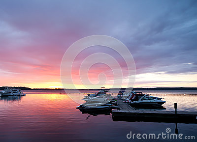 Dramatic dawn on St. Lawrence River, USA