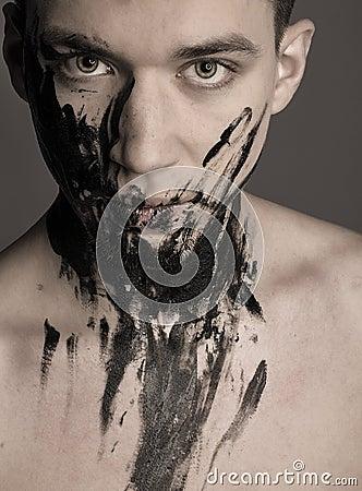 Free Dramatic Fashion Art Portrait Of Man In Black Paint Royalty Free Stock Photo - 50306895