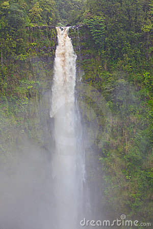 Dramatic, natural, tall waterfall in rain forest