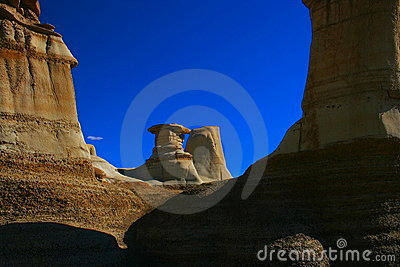 Dramatic sandstone formations, Drumheller, AB, Can