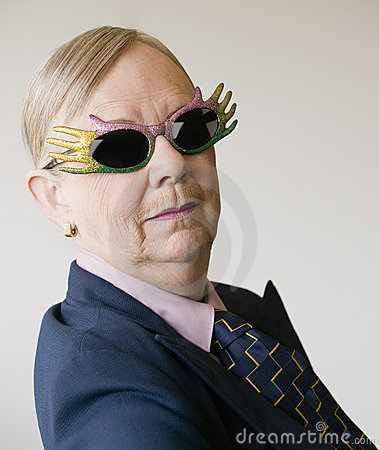 Dramatic Senior Woman Wearing Funny Glasses