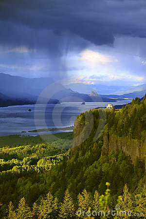 Dramatic skies on the Columbia Gorge Oregon.