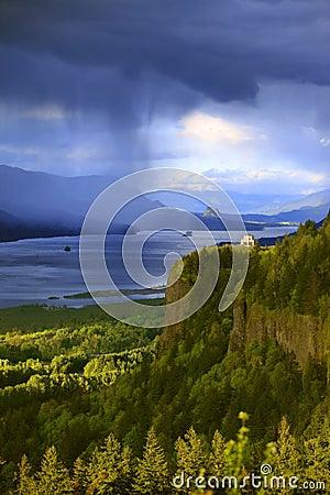Dramatic skies on the Columbia Gorge Oregon.