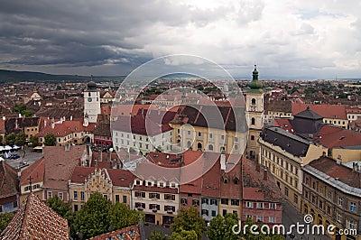 Dramatic skies over Sibiu Transylvania Romania