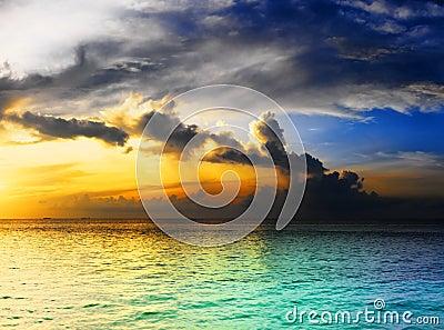 Dramatic sky over ocean