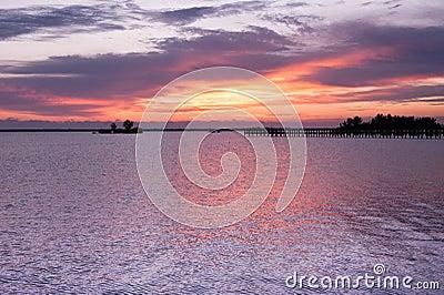 Dramatic sky before sunrise