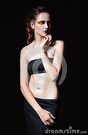 Free Dramatic Studio Portrait Of Cute Sad Redhead Woman Stock Images - 57702494