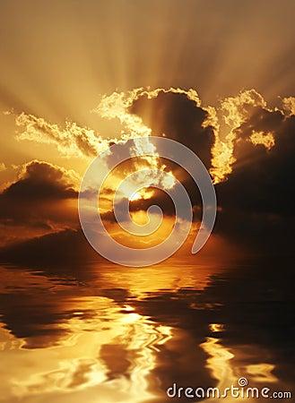 Dramatic sundown scene