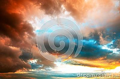 Dramatic sunset cloudscape