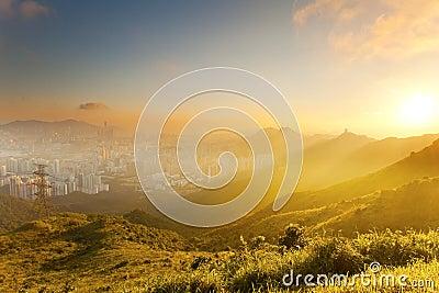 Dramatic sunset among hills