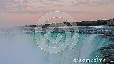 Dramatic sunset at horse shoe falls in Niagara Falls, Ontario, Canada. Slow motion.Dramatic sunset at horse shoe falls in Niagara Falls, Ontario, Canada stock footage