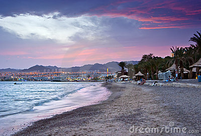 Dramatic sunset near resort hotels in Eilat