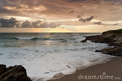 Dramatic sunset in Newquay, Cornwall, England