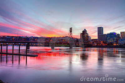 Dramatic sunset in Portland OR., HDR.