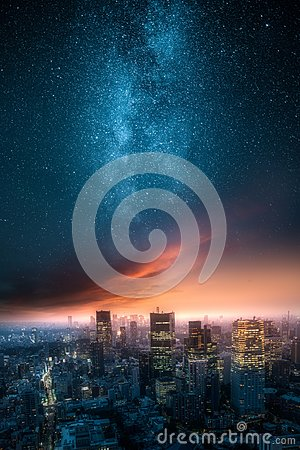 Free Dramatic View Of A City Skyline At Night With Milky Way Royalty Free Stock Image - 121277336