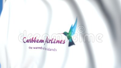 Drapeau brandissant le logo de Caribbean Airlines, gros plan. Animation 3D modifiable illustration libre de droits