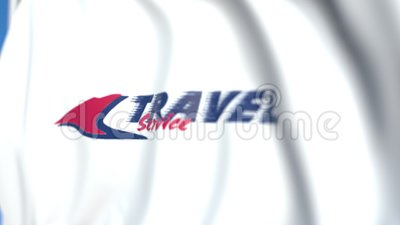 Drapeau d'alerte avec logo Travel Service Airline, gros plan Animation 3D modifiable illustration libre de droits
