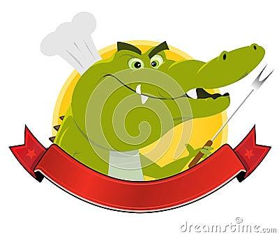 Drapeau de cuisinier de crocodile